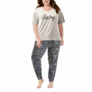 Lucky Brand 3Pc Gray French Terry Pajama Set Plus